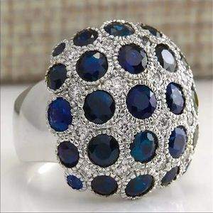 Luxury 925 Silver Sapphire Ring  New